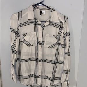 Divided black and white plaid shirt